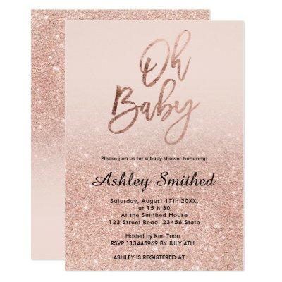 Rose gold faux glitter pink ombre Oh baby shower Invitations