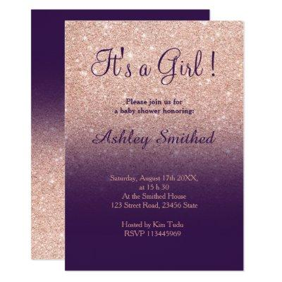 Rose gold faux glitter purple ombre baby shower invitation