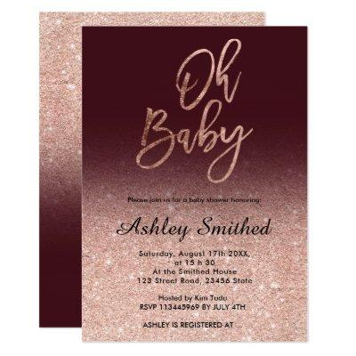 Rose gold glitter burgundy ombre Oh baby shower Invitation