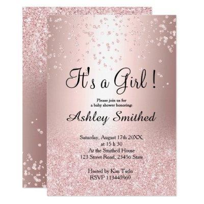 Rose gold glitter confetti ombre girl baby shower invitation