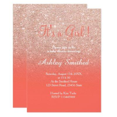 Rose gold glitter coral ombre girl baby shower invitation