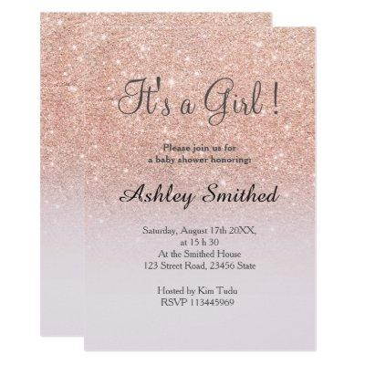 Rose gold glitter lilac ombre girl baby shower invitation
