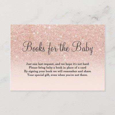 Rose gold glitter pink bring a book baby shower enclosure card