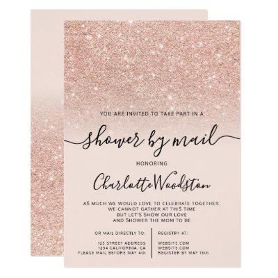 rose gold glitter pink cancelled shower by mail invitation