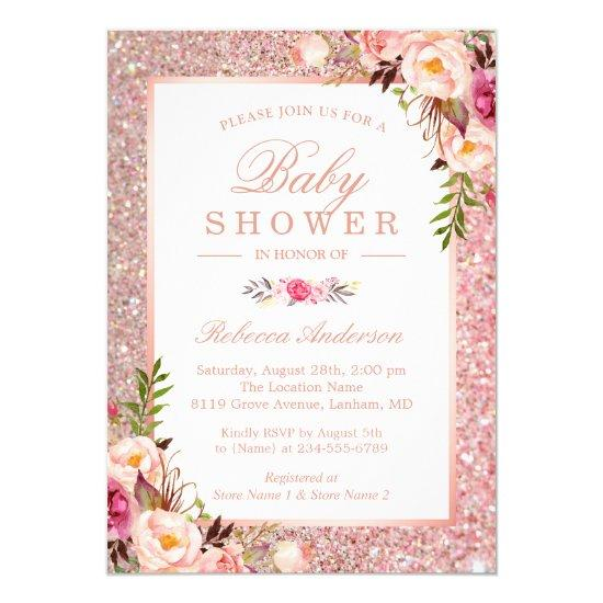 Rose Gold Glitter Pink Floral Girl Baby Shower Card