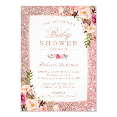 Rose Gold Glitter Pink Floral Girl Baby Shower Invitation