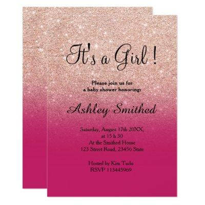 Rose gold glitter pink ombre girl baby shower invitation