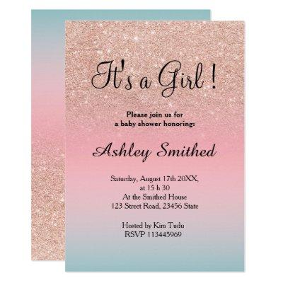Rose gold glitter pink turquoise girl baby shower invitation