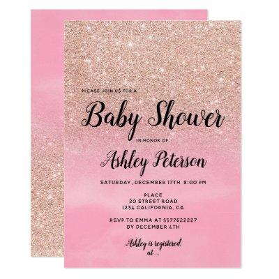 Rose gold glitter pink watercolor baby shower Invitations