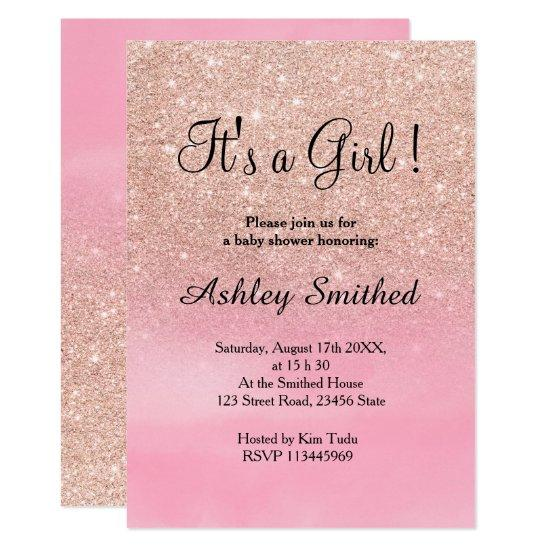 Rose gold glitter pink watercolor girl baby shower card