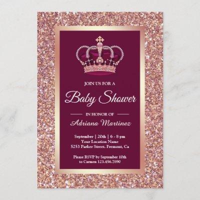 Rose Gold Glitter Princess Crown Pink Baby Shower Invitation
