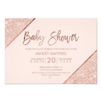 Rose gold glitter script blush pink baby shower invitation