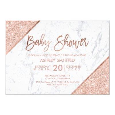 Rose gold glitter script white marble baby shower Invitations
