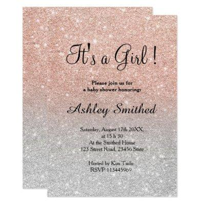 Rose gold glitter silver girl baby shower invitation