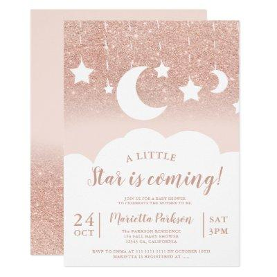 Rose gold glitter star moon cloud baby shower invitation