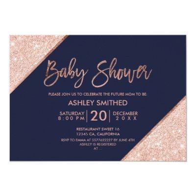 Rose gold glitter typography navy blue baby shower invitation