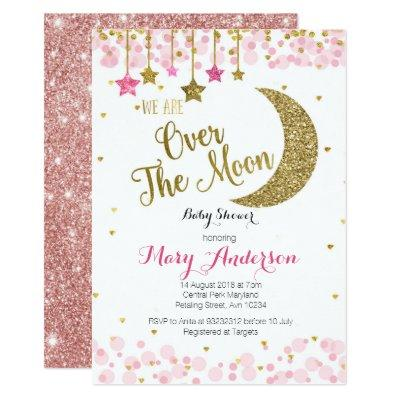 Rose Gold Moon Baby Shower Invitation for girl
