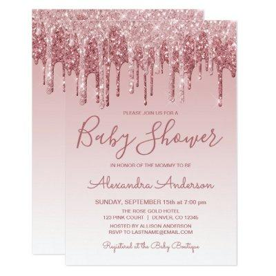 Rose Gold | Pink Sparkle Glitter Baby Shower Invitations