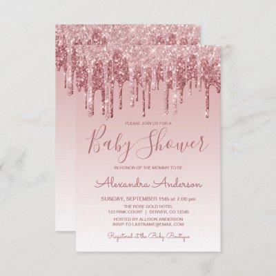 Rose Gold | Pink Sparkle Glitter Baby Shower Invitation