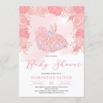 Rose gold tutu dress blush floral Baby Shower Invitation
