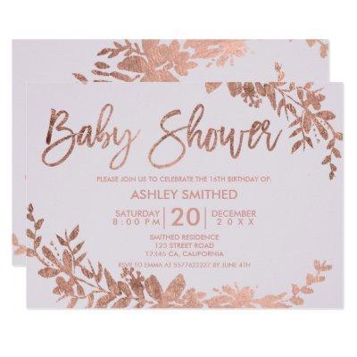 Rose Gold typography floral lavender baby shower Invitation