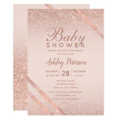 Rose gold typography glitter blush baby shower invitation