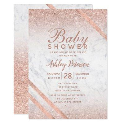 Rose gold typography glitter marble baby shower invitation