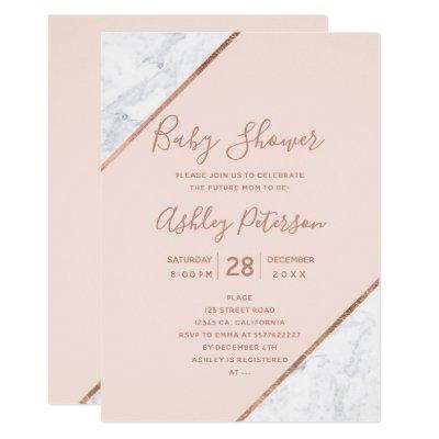 Rose gold typography white marble pink baby shower invitation