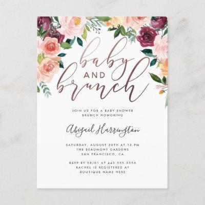 Rose Gold Watercolor Floral Brunch Baby Shower Invitations Postcard