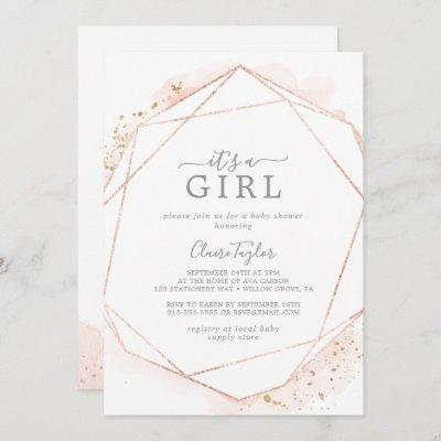 Rose Gold Watercolor It's A Girl Baby Shower Invitation