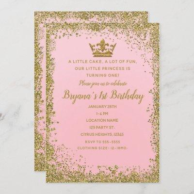 Rose Pink & Gold Glitter Crown 1ST Birthday Party Invitation