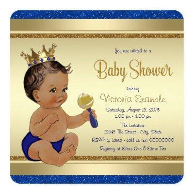 Royal Baby Boy Blue Gold Ethnic Prince Baby Shower Invitation