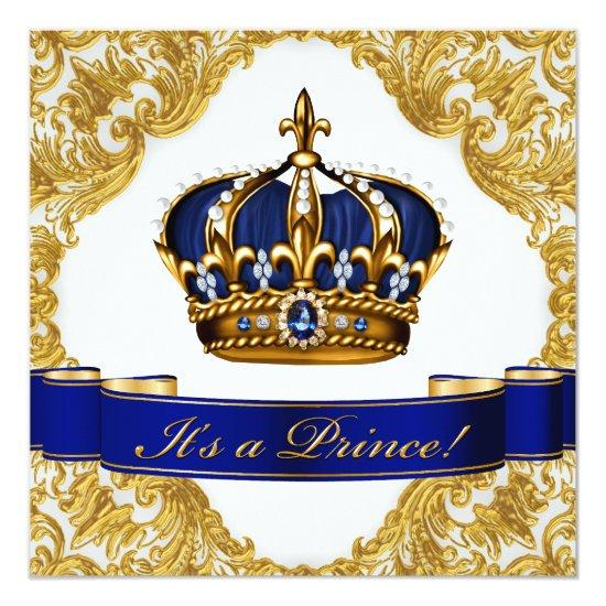 royal blue and gold crown prince invitations