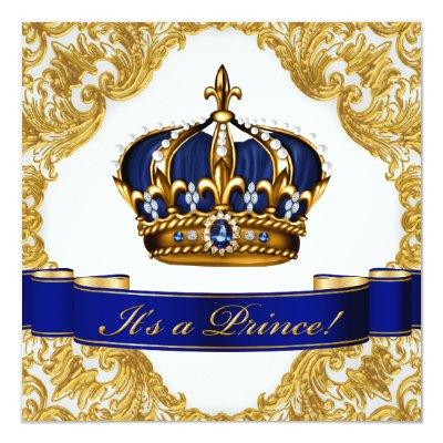 Royal Blue and Gold Crown Prince Baby Shower Invitations