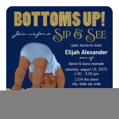 Royal Blue and Gold Ethnic Boys Sip and See Invitations