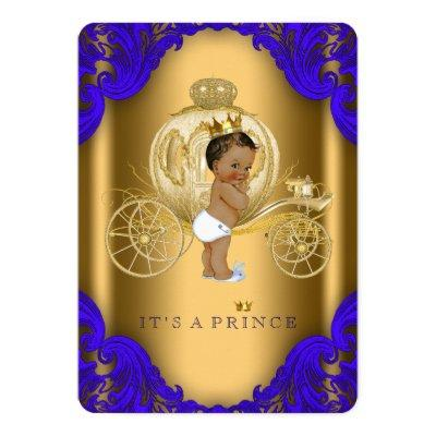 Royal Blue and Gold Ethnic Prince Baby Shower Invitations