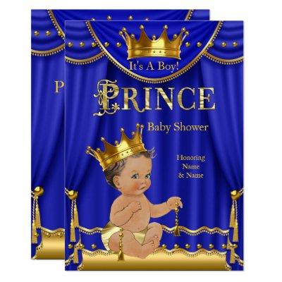 Royal Blue Crown Prince Baby Shower Gold Brunette Invitation