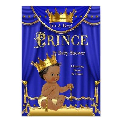 Royal Blue Crown Prince Gold Ethnic Invitations