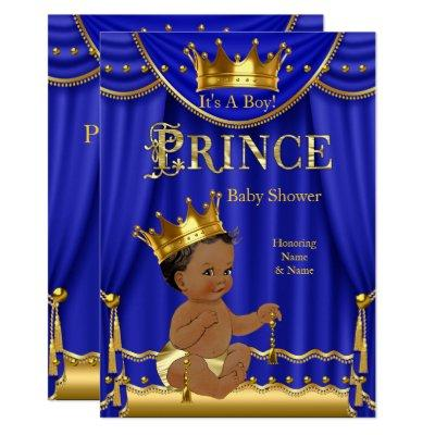 Royal Blue Crown Prince Baby Shower Gold Ethnic Invitations