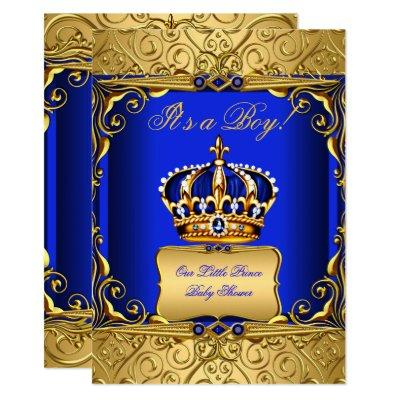 Royal Blue Damask Gold Crown Baby Shower Boy bs2 Invitations