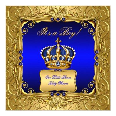 Little Prince Royal Blue Boy Baby Shower Invitations Baby Shower