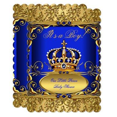 Royal Blue Damask Gold Crown Baby Shower Boy RB3 Invitation