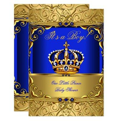 Royal Blue Damask Gold Crown Baby Shower Boy SMALL Invitation