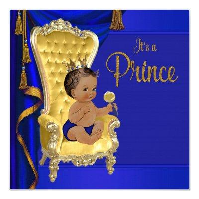 Royal Blue Fancy Ethnic Prince Baby Shower Invitation
