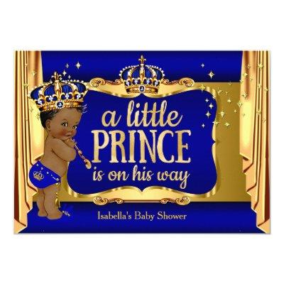 Royal Blue Gold Boy Prince Baby Shower Ethnic Invitations
