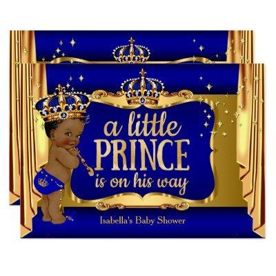 Royal Blue Gold Boy Prince Baby Shower Ethnic Invitations