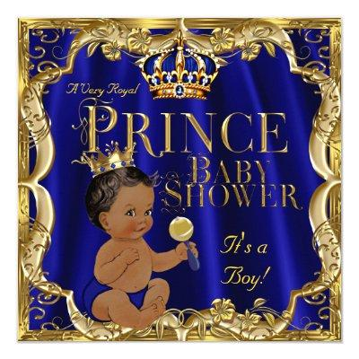 Royal Blue Gold Crown Prince Ethnic Invitations