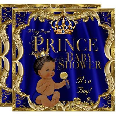 Royal Blue Gold Crown Prince Baby Shower Ethnic Invitations