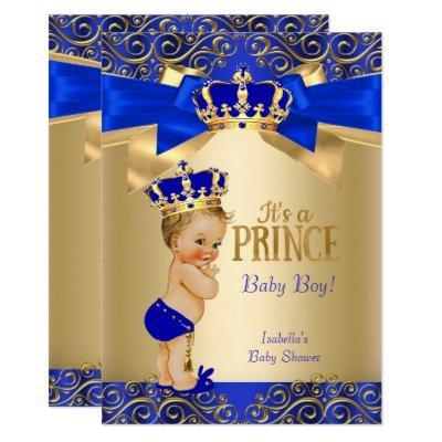Royal Blue Gold Damask Prince Baby Shower Blonde Invitation