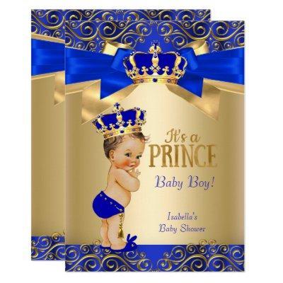 Royal Blue Gold Damask Prince Baby Shower Brunette Invitations